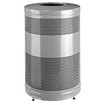 "Rubbermaid FGS55ETSMPLBK 51-gal Recycling Receptacle - ""Cans or Bottles"" Drop Top, Silver Metallic"
