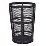 Rubbermaid FGSBR52BK 45-gal Street Basket Outdoor Receptacle - Bottom Drain, Black
