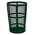 Rubbermaid FGSBR52GRN 45-gal Street Basket Outdoor Receptacle - Bottom Drain, Moss Green