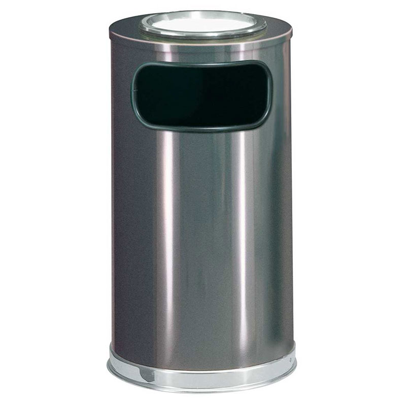 Rubbermaid FGSO16SU20GLANT 12-gal Sand Top Ash/Trash Receptacle - Galvanized Liner, Anthracite/Chrome