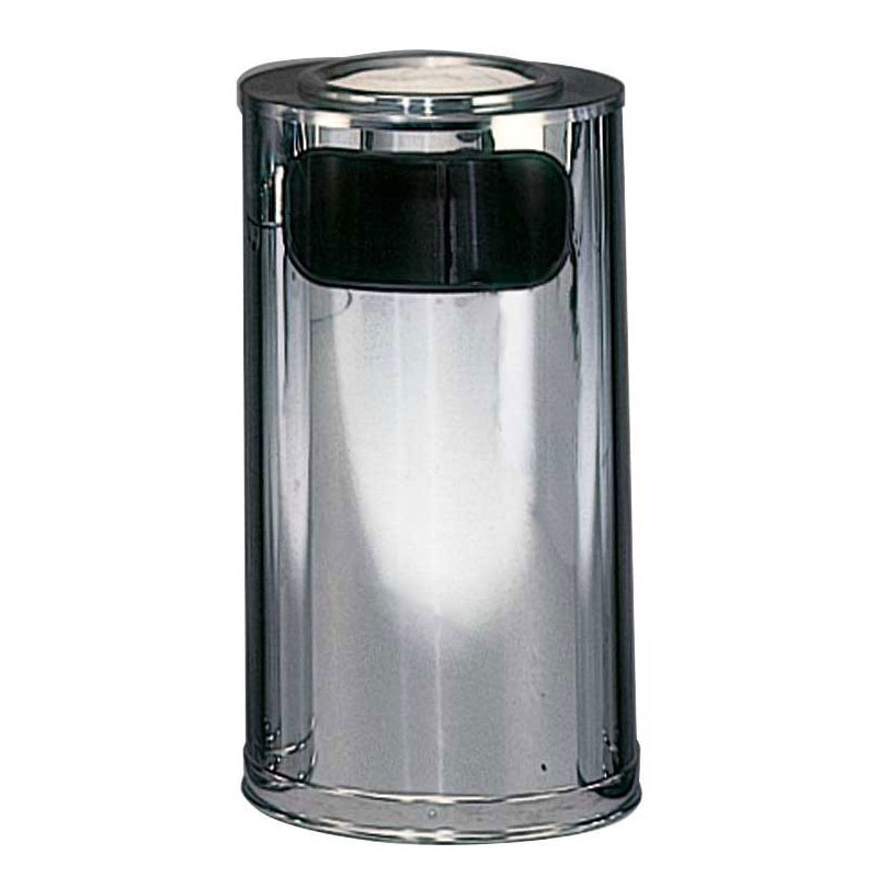 Rubbermaid FGSO16SUMCGL 12-gal Sand Top Ash/Trash Receptacle - Galvanized Liner, Mirror Chrome