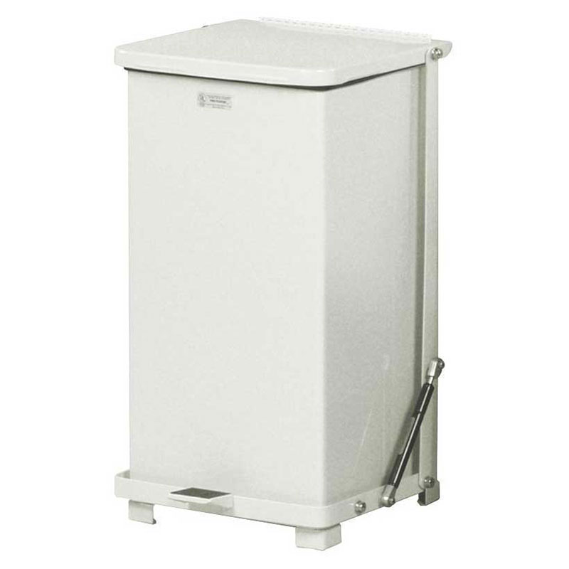 "Rubbermaid FGST12EPLWH 12-gal Square Plastic Step Trash Can, 12""L x 12""W x 23""H, White"