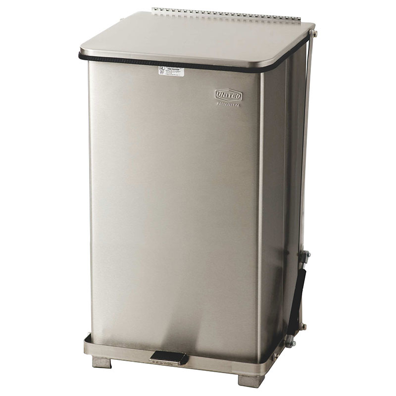 "Rubbermaid FGST12SSPL 12-gal Square Metal Step Trash Can, 12""L x 12""W x 23""H, Stainless"