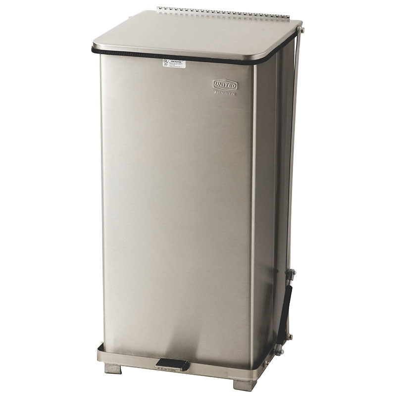 "Rubbermaid FGST24SSRB 24-gal Square Metal Step Trash Can, 15""L x 15""W x 30""H, Stainless"