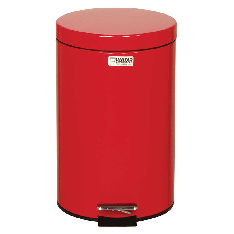 "Rubbermaid FGST35EGLRD 3.5-gal Round Plastic Step Trash Can, 11"" dia. x 17""H, Red"