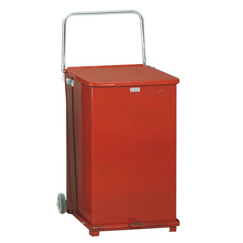 Rubbermaid FGST40EWPLRD 40-gal Defenders Step Waste Can - Plastic Liner, Red