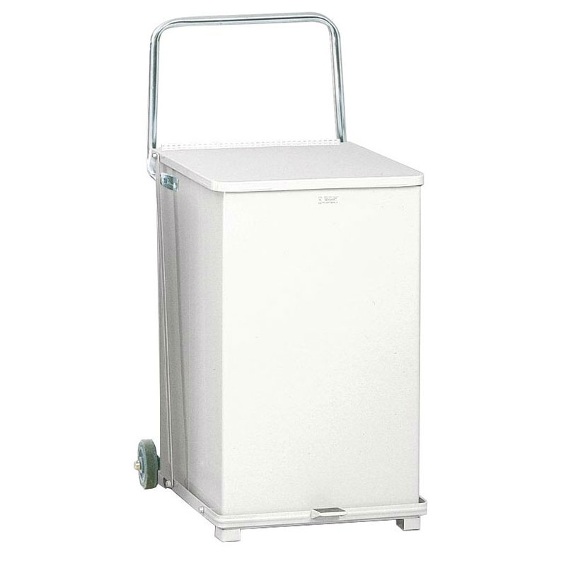 Rubbermaid FGST40EWPLWH 40-gal Defenders Step Waste Can with Wheels - Plastic Liner, White