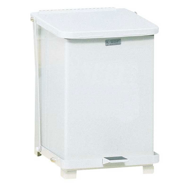 Rubbermaid FGST7ERBWH 7-gal Defenders Step Waste Can - White