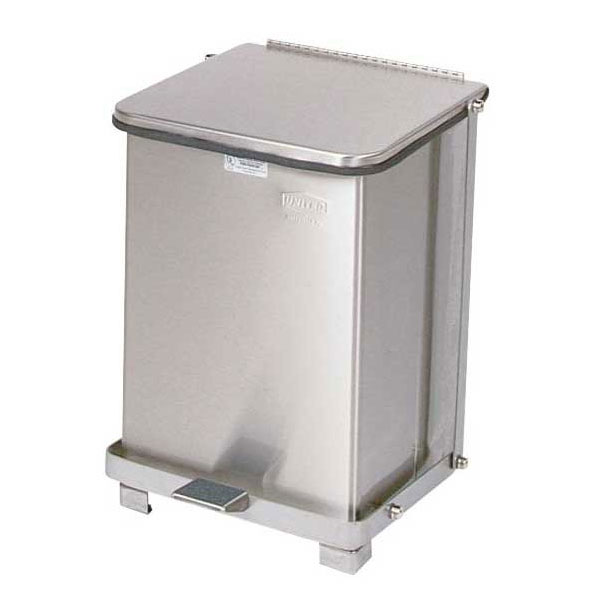 "Rubbermaid FGST7SSPL 7-gal Square Metal Step Trash Can, 12""L x 12""W x 17""H, Stainless"