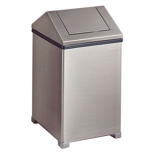 Rubbermaid FGT1414SSRB 14-gal Wastemaster Receptacle - Hinged Top, Stainless