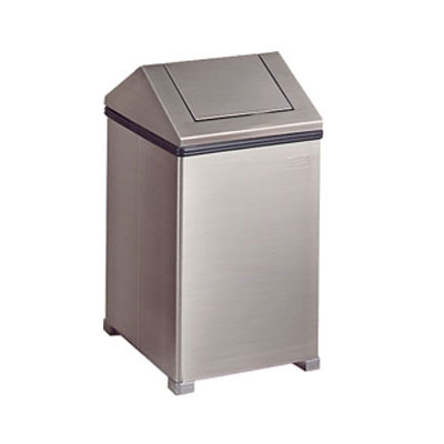 Rubbermaid FGT1424SSRB 24-gal Wastemaster Receptacle - Hinged Top, Stainless