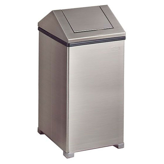 decorative indoor trash cans. Rubbermaid FGT1940SSRB 40 gal Indoor Decorative Trash Can  Metal Stainless Steel