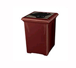 Rubbermaid FGFGT2433SQPLAL Tuscany Receptacle, 34 Gallon, 24 in Sq, Liner, Fiberglass, In/Outdoor, Almond