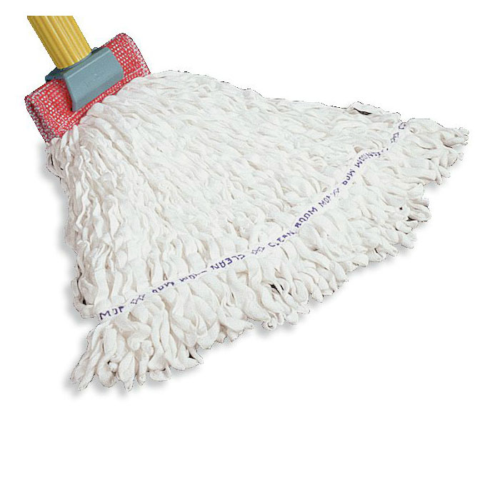 "Rubbermaid FGT30100WH00 Large Looped-End Clean Room Mop Head - 5"" Headband, Rayon/Polyester, White"