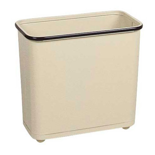 Rubbermaid FGWB30RAL 30-qt Rectangle Waste Basket - Metal, Almond