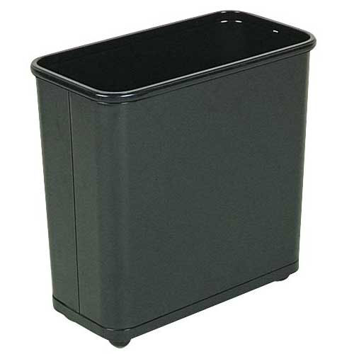 Rubbermaid FGWB30RBK 30-qt Rectangle Waste Basket - Metal, Black