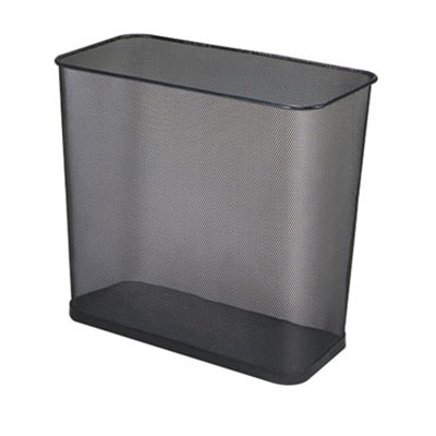 Rubbermaid FGWMB30RBK 7.5-qt Rectangle Waste Basket - Metal, Black