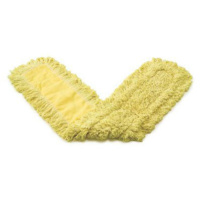 "Rubbermaid FGJ15300YL00 Trapper Dust Mop - 24x5"" Half-Tie Backing, Yarn, Yellow"