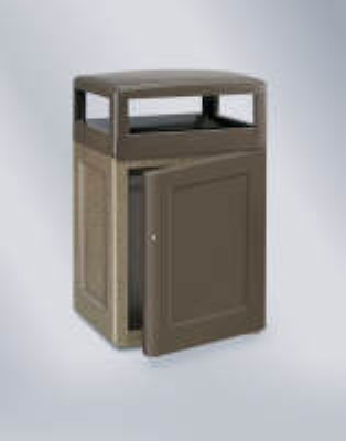 Rubbermaid FGKSR48SD8000PL 48-gal Waste Receptacle - Front Door, Concrete, Bronze/Sierra Brown