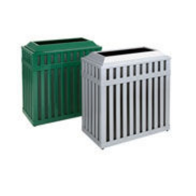 Rubbermaid FGMHR36PLBK 36-gal Avenue Waste Receptacle - Open Top, Steel Slat, Black