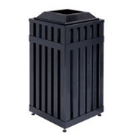 Rubbermaid FGMHSQ18PLBK 18-gal Avenue Waste Receptacle - Open Top,