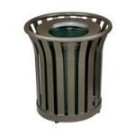 Rubbermaid FGMT32PLVSGN 36-gal American Trash Receptacle - Open Top, Steel Slat, Green
