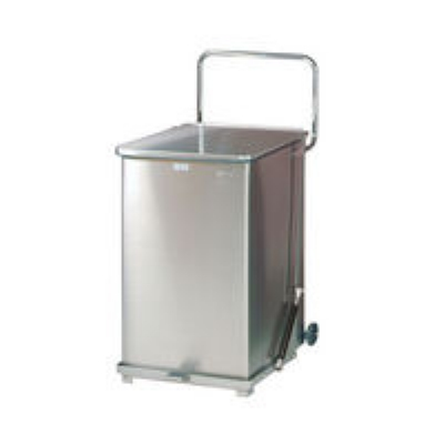 Rubbermaid FGQST40SWPL 40-gal Silent Defender Step Waste Can with Wheels - Rigid Plastic Liner, Stainless