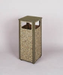 Rubbermaid FGR12201PL 12-gal Square Flat Top Trash Receptacle - Rigid Plastic Liner, Brown Stone/Brown