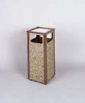 Rubbermaid FGR12SU201PL 12-gal Square Flat Top Ash/Trash Receptacle - Plastic Liner, Brown Stone/Brown
