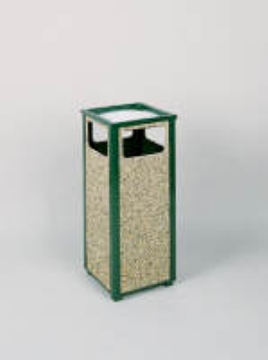 Rubbermaid FGR12SU202PL 12-gal Square Flat Top Ash/Trash Receptacle - Plastic Liner, Brown Stone/Green