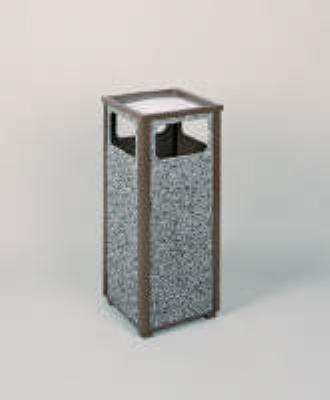 Rubbermaid FGR12SU6000PL 12-gal Square Flat Top Ash/Trash Receptacle - Plastic Liner, Glacier Gray/Bronze