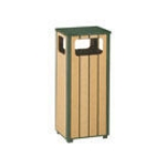 Rubbermaid FGR1450PLEGN 12-gal Waste Receptacle - Flat Top, Rigid Plastic Liner, Cedar/Empire Green