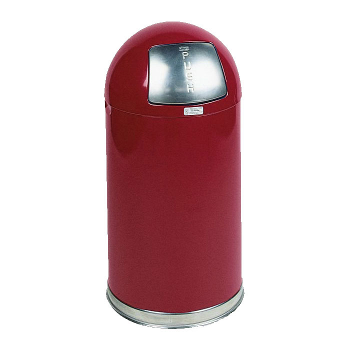 Rubbermaid FGR1530EGLRD 12-gal Round Waste Receptacle - Galvanized Liner, Stainless/Red
