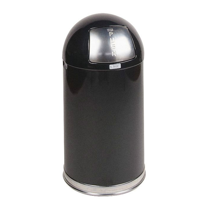 Rubbermaid FGR1530EPLBK 12-gal Round Waste Receptacle - Plastic Liner, Stainless/Black