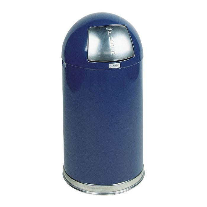 Rubbermaid FGR1530EPLCOB 12-gal Round Waste Receptacle - Plastic Liner, Stainless/Cobalt Blue