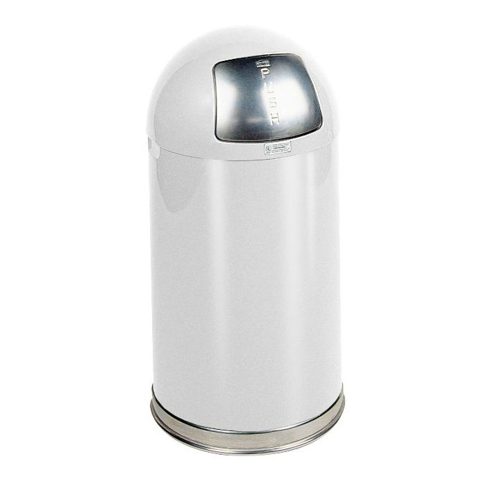 Rubbermaid FGR1530EPLWH 12-gal Round Waste Receptacle - Plastic Liner, Stainless/White
