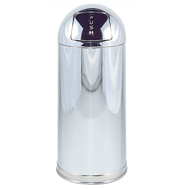 Rubbermaid FGR1530MCGL 12-gal Indoor Decorative Trash Can - Metal, Mirror Chrome