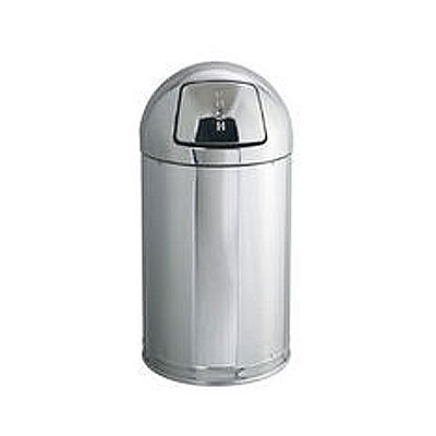 Rubbermaid FGR1530MCPL 12-gal Indoor Decorative Trash Can - Metal, Mirror Chrome