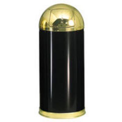 Rubbermaid FGR153610GLBK 15-gal European Waste Receptacle - Round Top, Galvanized Liner, Black/Brass