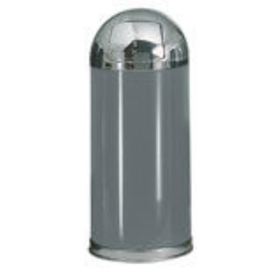 Rubbermaid FGR153620PLANT 15-gal Round European Waste Receptacle - Plastic Liner, Anthracite/Chrome