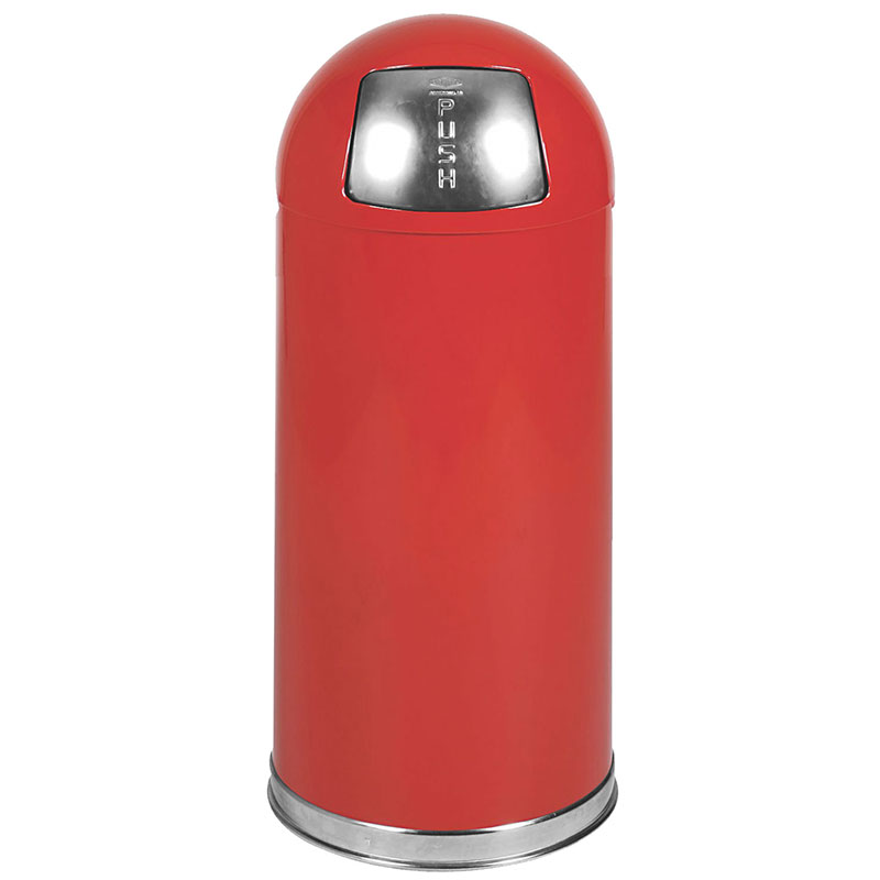 Rubbermaid FGR1536EGLRD 15-gal Round Waste Receptacle - Galvanized Liner, Red