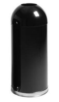 Rubbermaid FGR1536EOTPLBK 15-gal Round Waste Receptacle - Open Top, Plastic Liner, Black