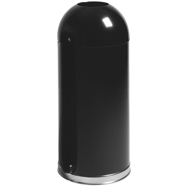 Rubbermaid FGR1536EOTPLBK 15-gal Indoor Decorative Trash Can - Metal, Black
