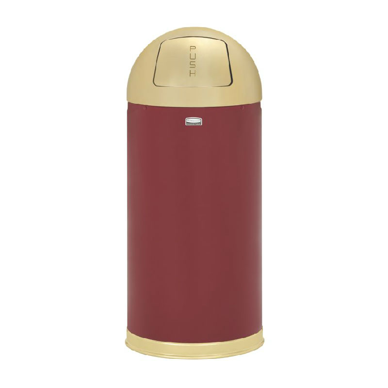 Rubbermaid FGR153610GLCR 15-gal Round European Waste Receptacle - Galvanized Liner, Crimson/Brass