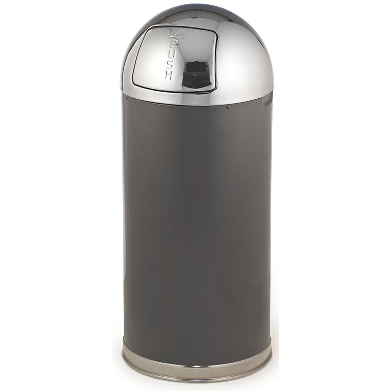 Rubbermaid FGR153620GLANT 15-gal Round European Waste Receptacle - Galvanized Liner, Anthracite/Chrome