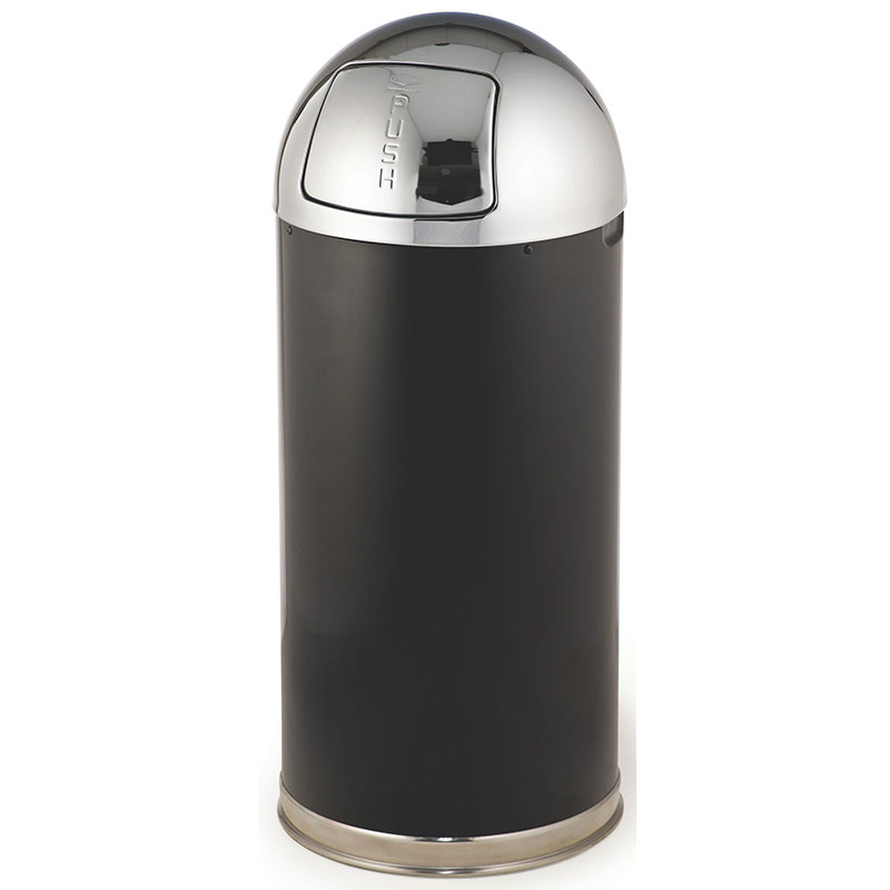Rubbermaid FGR153620GLBK 15-gal Round European Waste Receptacle - Galvanized Liner, Black/Chrome