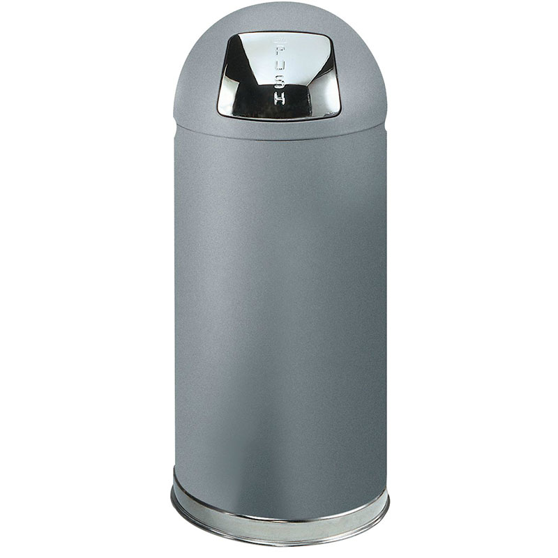 Rubbermaid FGR1536SMGL 15-gal Indoor Decorative Trash Can - Metal, Silver