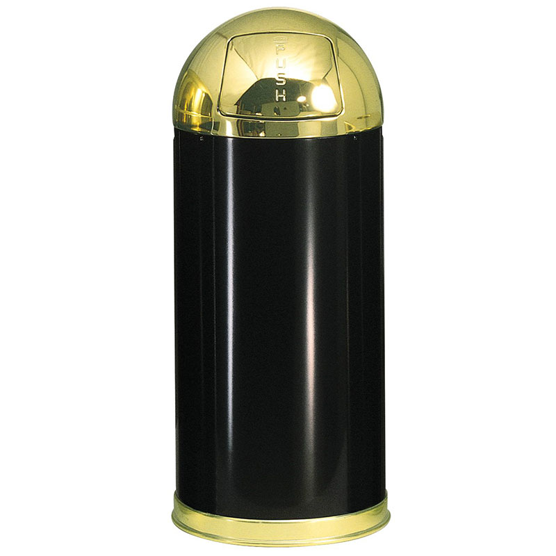 Rubbermaid FGR153610PLBK 15-gal Round European Waste Receptacle - Plastic Liner, Black/Brass