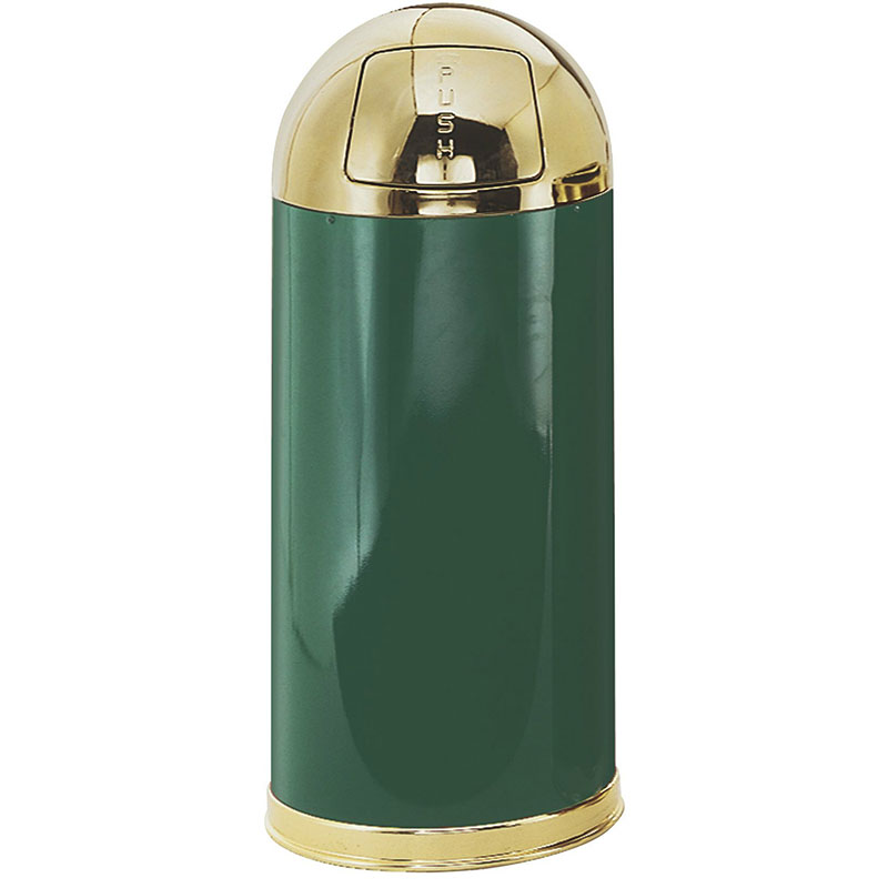 Rubbermaid FGR153610PLEGN 15-gal Indoor Decorative Trash Can - Metal, Empire Green