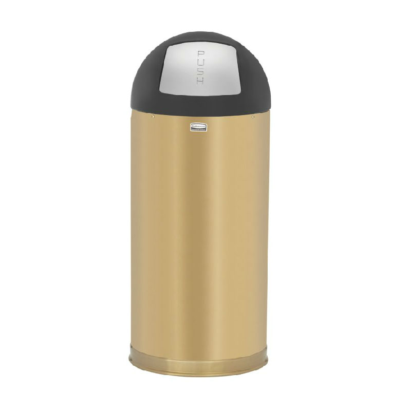 Rubbermaid FGR1536SBSPL 15-gal Indoor Decorative Trash Can - Metal, Satin Brass